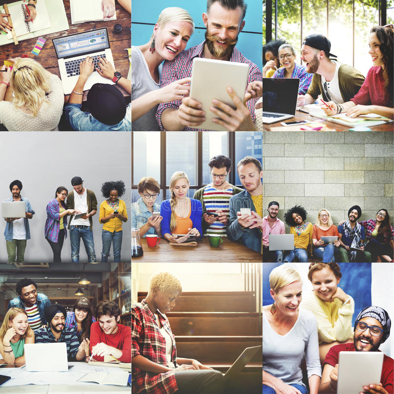 Общины технологии цифров прибора концепция совместно стоковая фотография