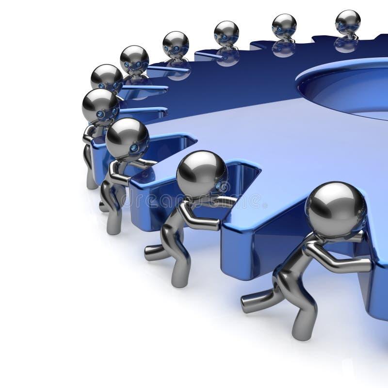 Объединяйтесь в команду бизнесмены партнерства работы поворачивая голубой значок шестерни стоковые фото