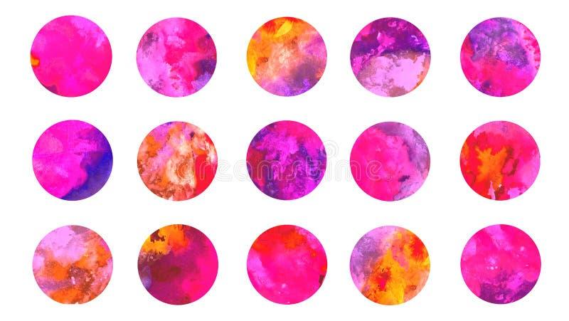 Объезжает акварель палитры цветов собрания розовую иллюстрация вектора