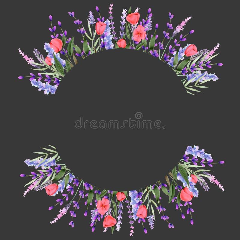Объезжайте границу рамки с wildflowers и лавандой пинка акварели иллюстрация штока