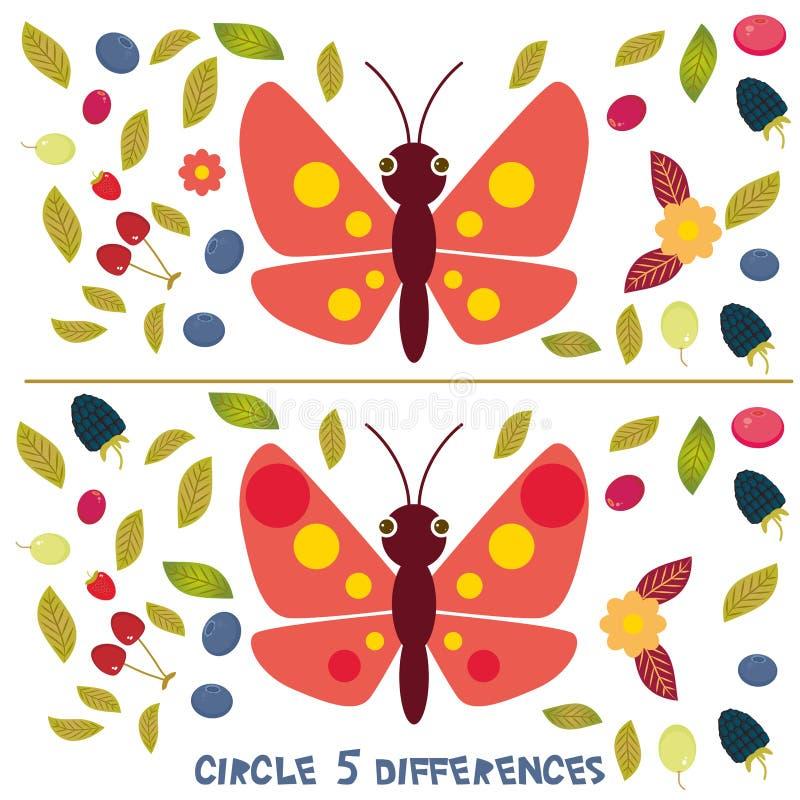 Объезжайте игру 5 разниц воспитательную для головоломки изображения детей дошкольного возраста: Найдите 5 разниц между 2 изображе бесплатная иллюстрация