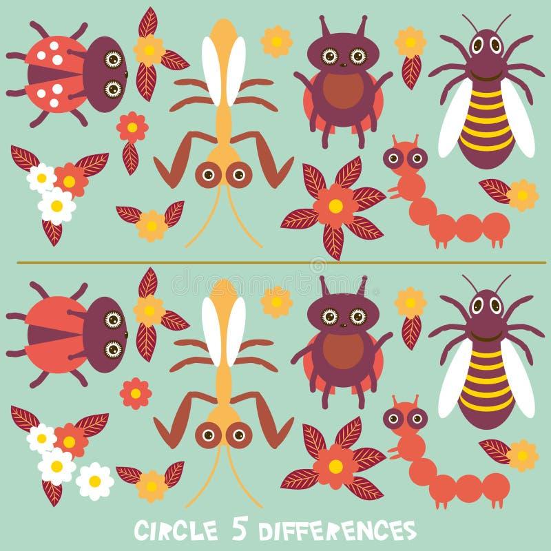 Объезжайте игру разниц воспитательную для головоломки изображения детей дошкольного возраста: Найдите 5 разниц между 2 изображени иллюстрация штока