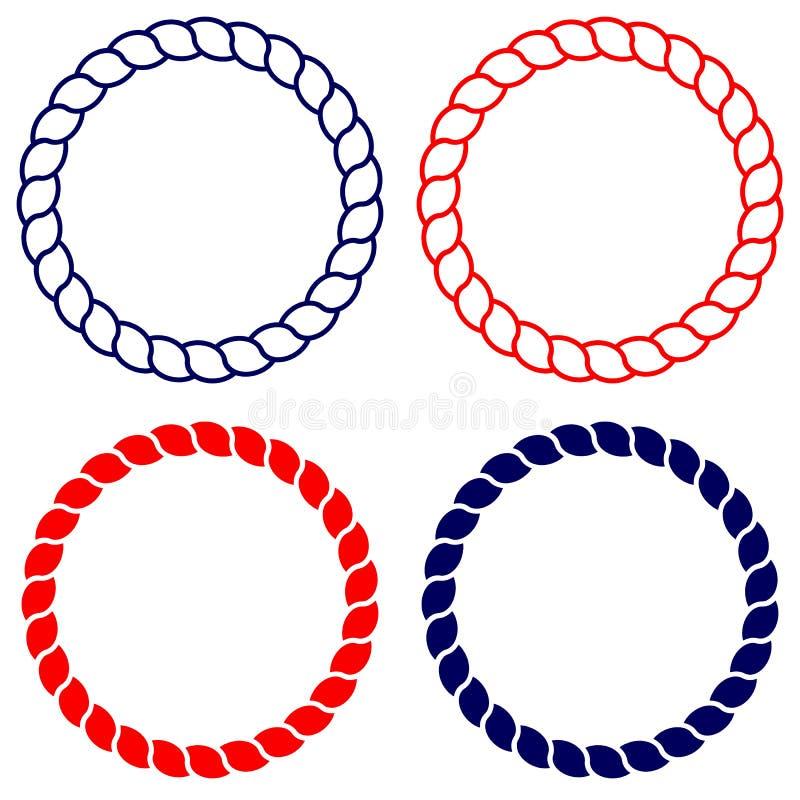 Объезжайте линию изолированное искусство голубой и красной веревочки иллюстрация штока