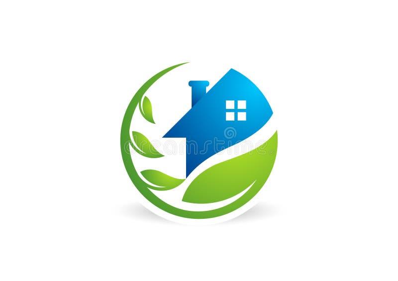 Объезжайте домашний логотип завода, жилищное строительство, архитектуру, вектор дизайна значка символа природы недвижимости иллюстрация штока