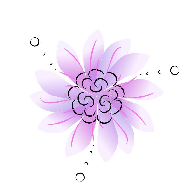 Объезжайте орнаментальный голубой или фиолетовый цветок с троекратной симметрией бесплатная иллюстрация