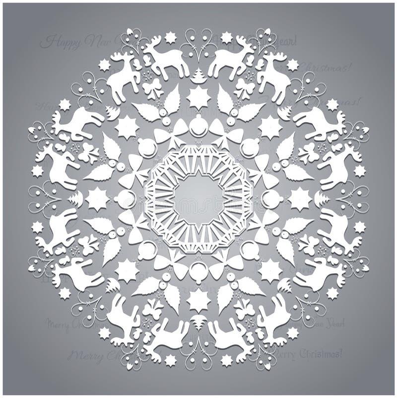 Объезжайте орнамент, круглую орнаментальную геометрическую картину, украшение снежинки рождества иллюстрация вектора