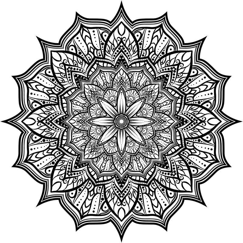 Объезжайте орнамент шнурка, круглую орнаментальную геометрическую картину doily, черно-белую мандалу иллюстрация штока