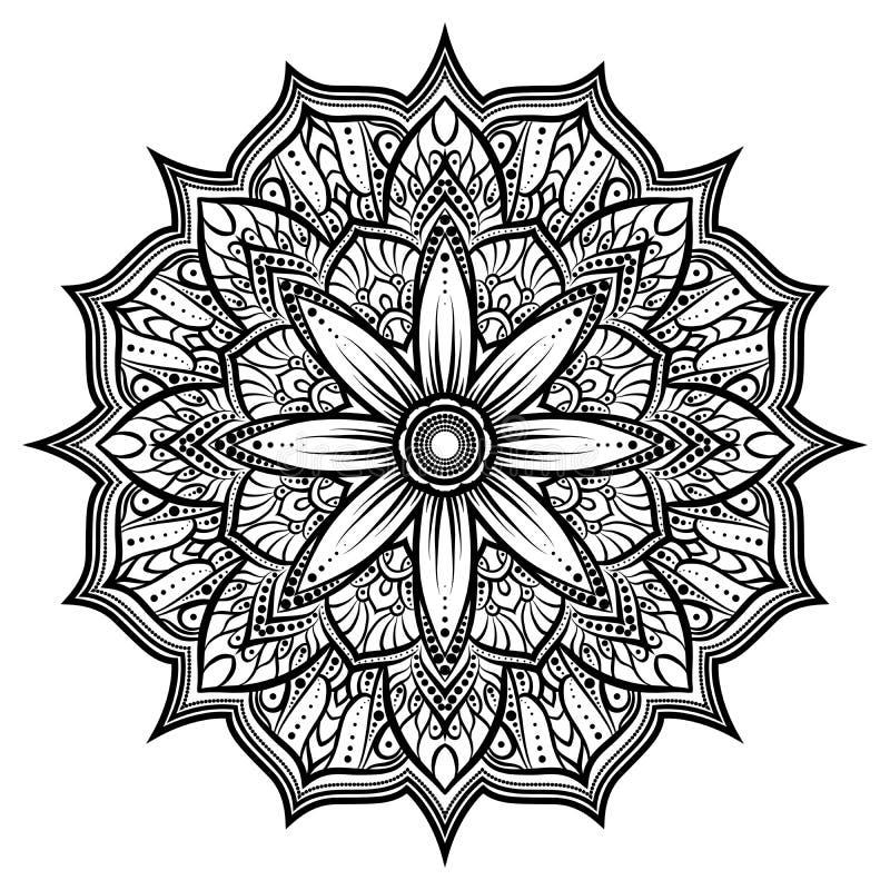 Объезжайте орнамент шнурка, круглую орнаментальную геометрическую картину doily, черно-белую изолированную мандалу бесплатная иллюстрация