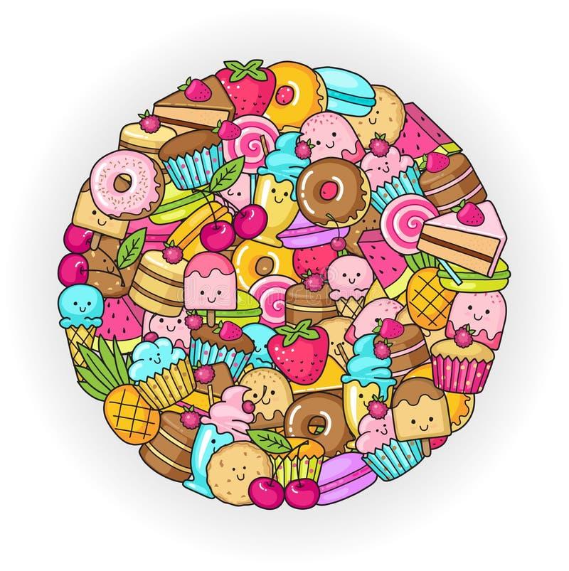 Объезжайте от смешных помадок, плодоовощ и мороженого Donuts, пирожные, торты и печенья иллюстрация вектора