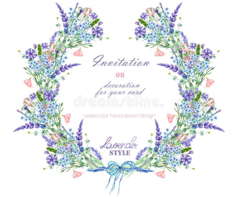 Объезжайте рамку, венок с флористическим дизайном; элементы акварели цветков лаванды, cornflower, незабудки и eustoma бесплатная иллюстрация