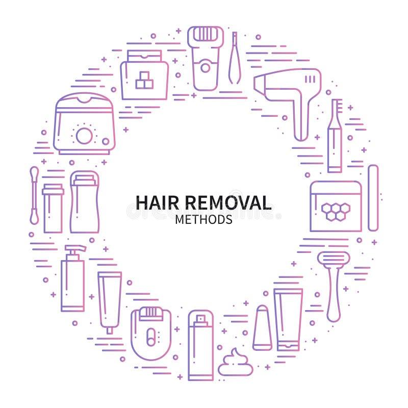 Объезжайте рамку с символами методов удаления волос в линии стиле Брить засахаривающ лазер вощия депиляцию epilation иллюстрация вектора