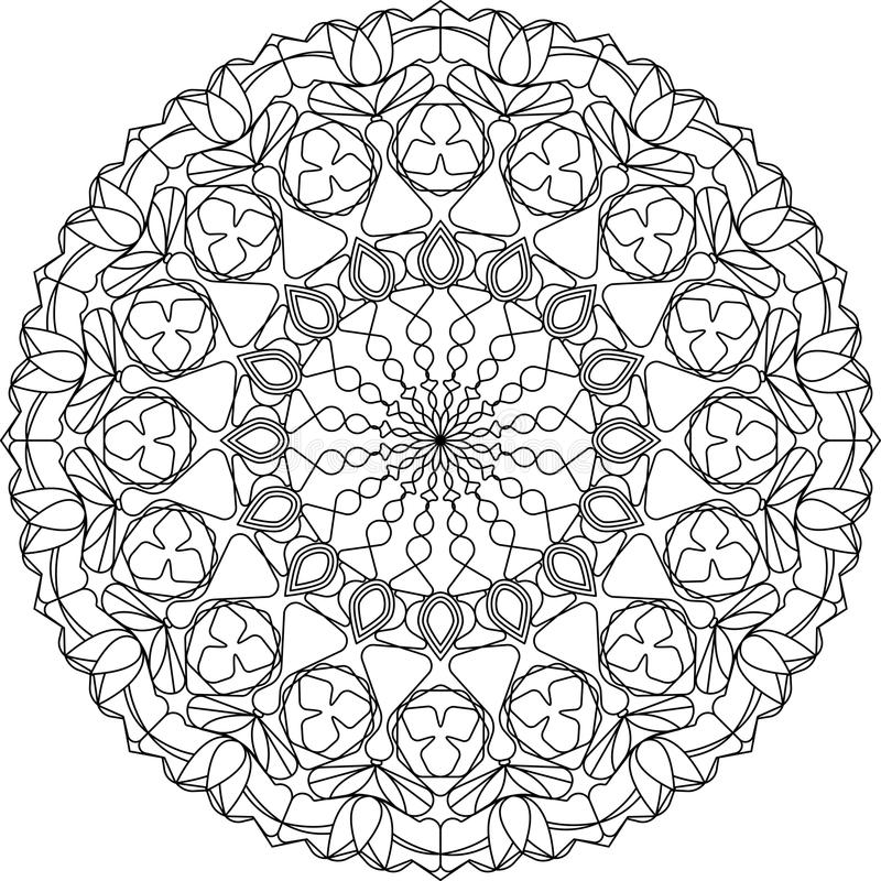 Объезжайте страницу расцветки мандалы взрослую, с мотивами тюльпанов иллюстрация вектора