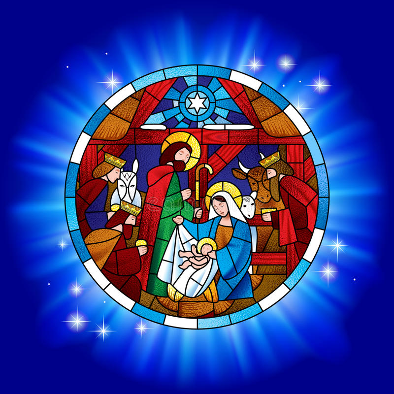 Объезжайте цветное стекло с рождеством и обожанием волхвов иллюстрация вектора