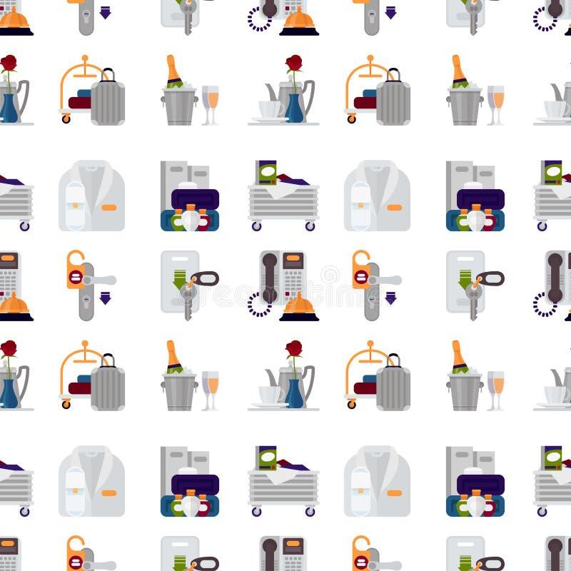 Объектов профессиональной услуги гостиницы общежитие помощи личных исполнительное оборудует безшовную иллюстрацию вектора предпос бесплатная иллюстрация