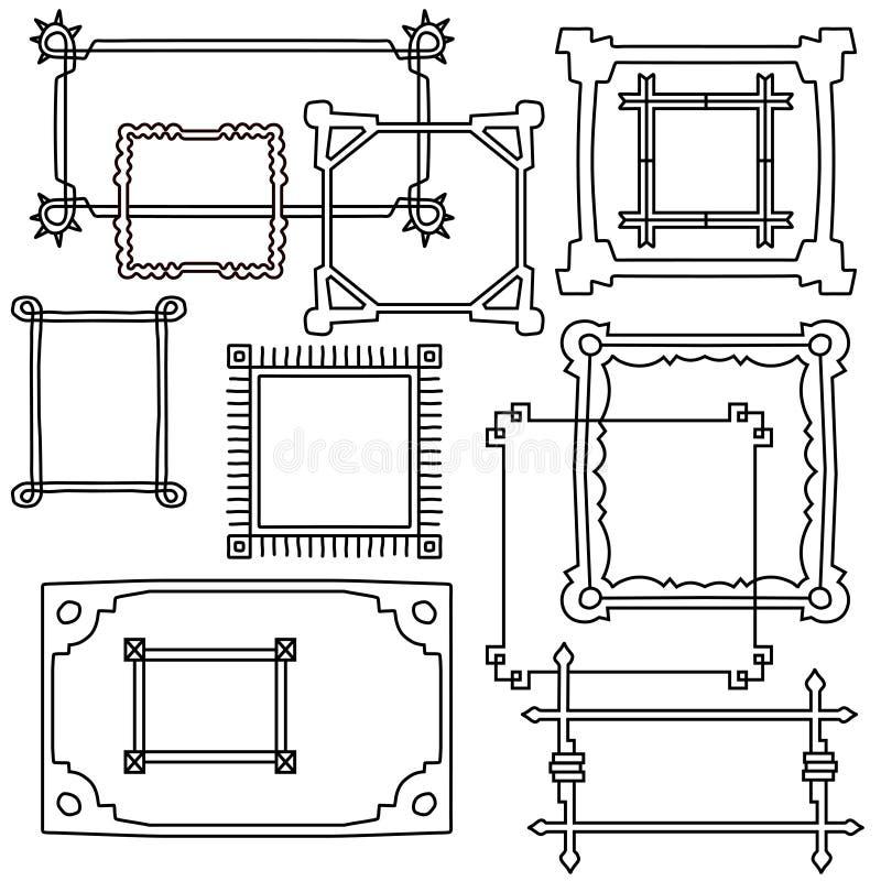 Набор рамок руки вычерченный Объекты вектора в стиле мультфильма иллюстрация вектора