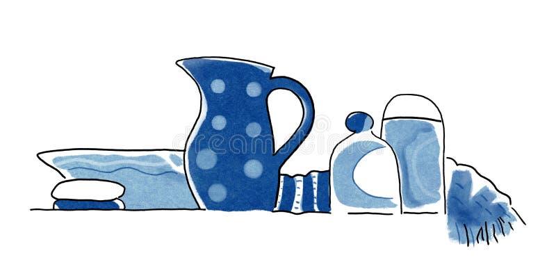 Объекты для спа, сауны, заботы тела, кувшина воды, мыла, шампуня и полотенца Середины для платья утра и вечера, краски акварели иллюстрация штока