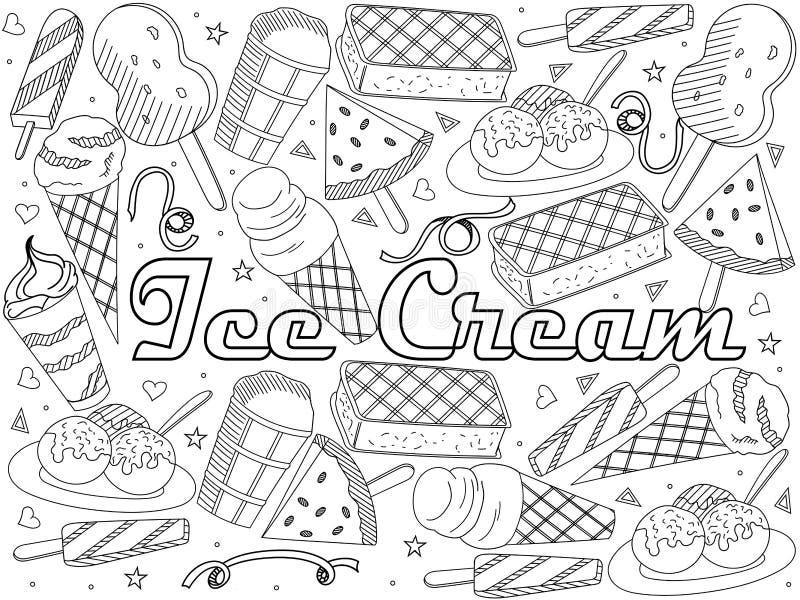 Объекты линейного искусства на белой предпосылке Тема общественного ресторанного обслуживании, летних каникулов, комплекта различ бесплатная иллюстрация