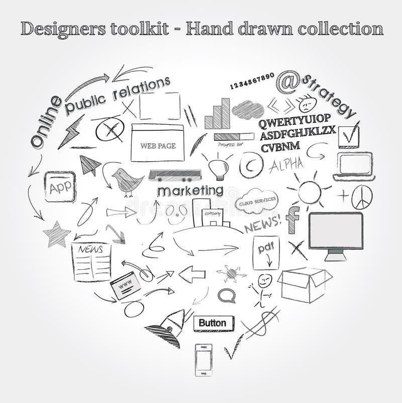 Объекты нарисованные рукой иллюстрация штока