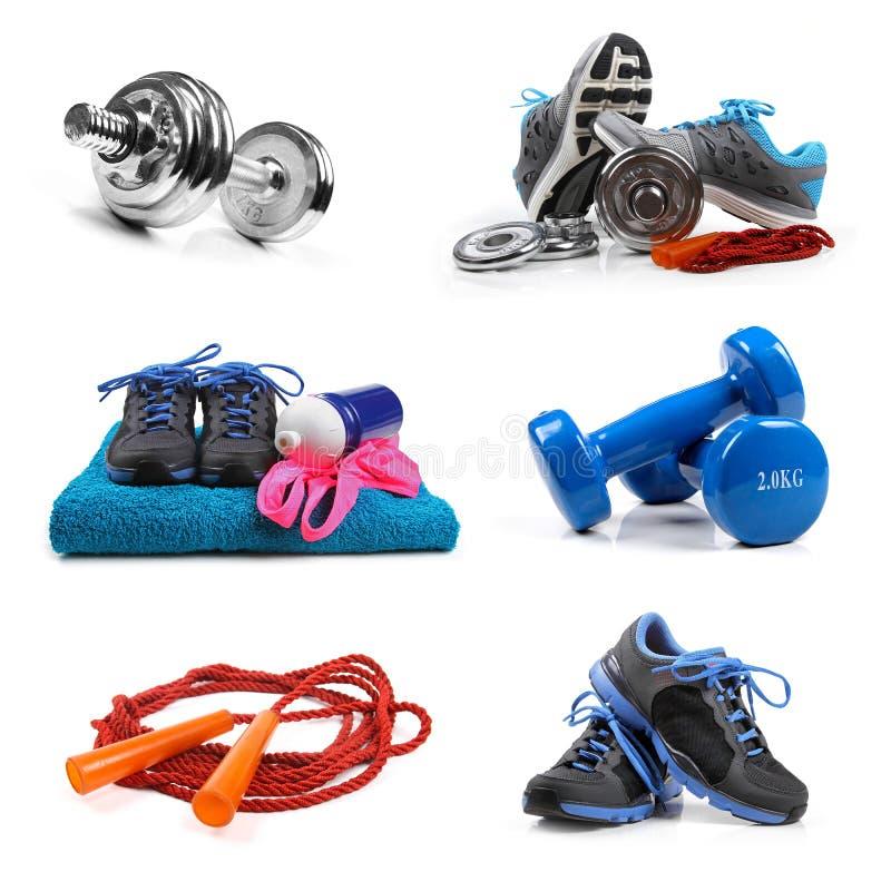 Объекты оборудования фитнеса изолированные на белизне стоковое фото