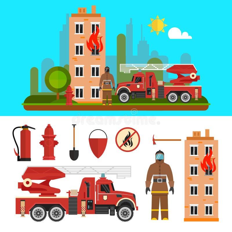 Объекты отдела Firefighting изолированные на белой предпосылке Пожарное депо и пожарные иллюстрация вектора