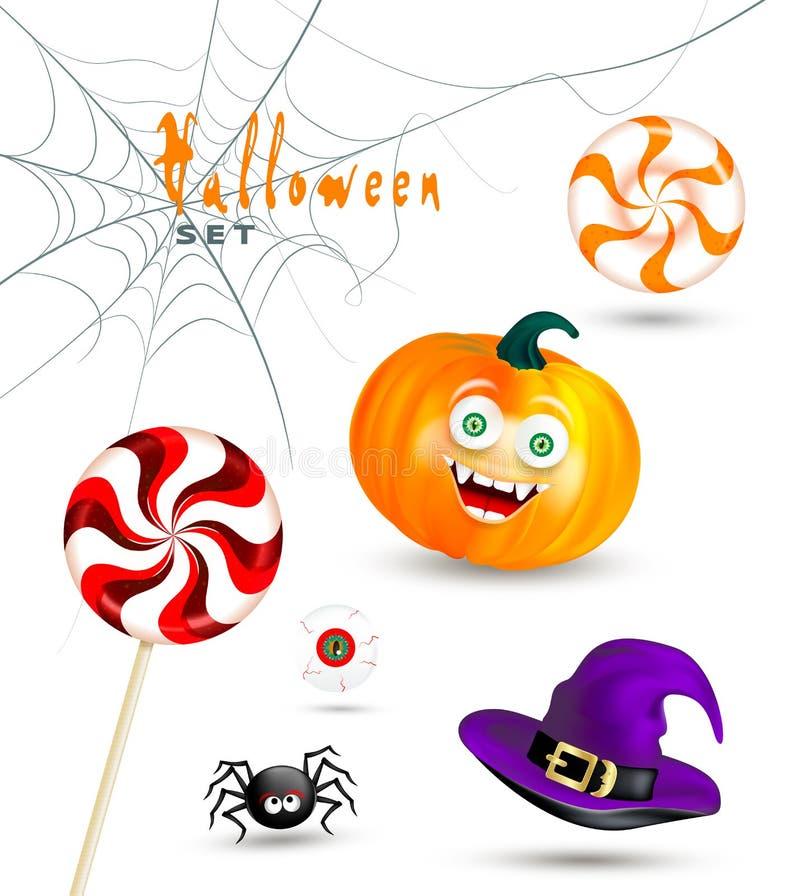 Объекты праздника хеллоуина на белой предпосылке Счастливая оранжевая тыква с смешной стороной изверга, шляпой ведьмы, милым паук бесплатная иллюстрация