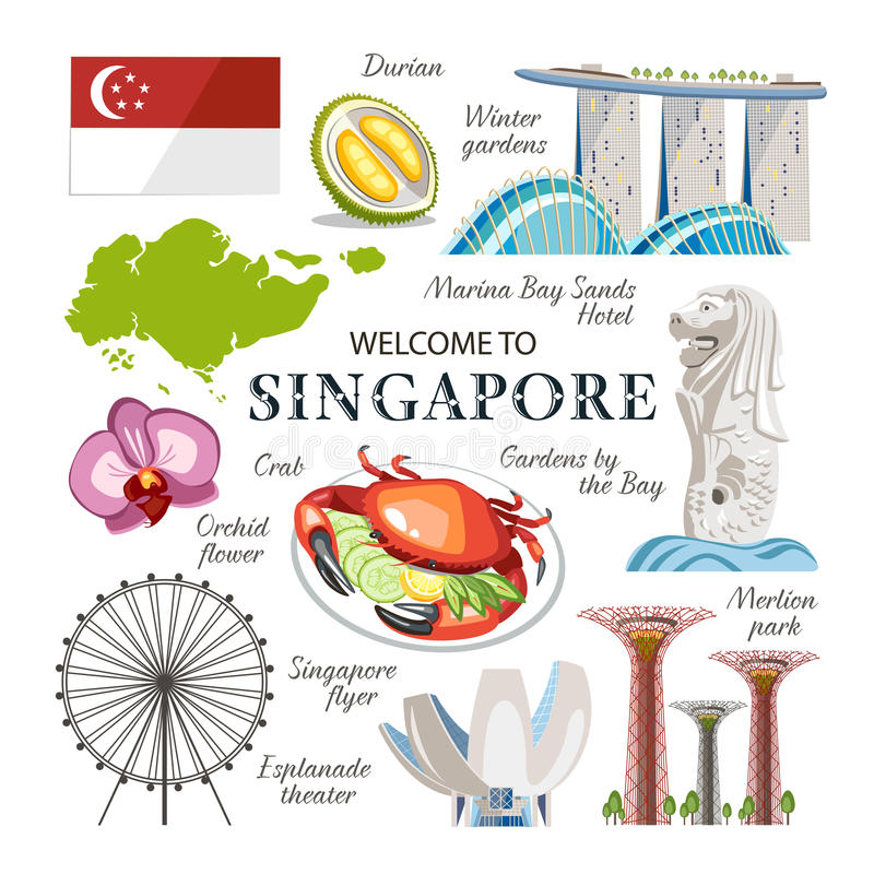 Объекты Сингапура установленные бесплатная иллюстрация