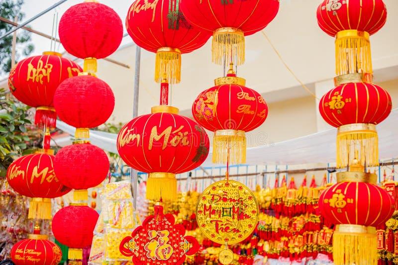 Объекты украшения лунного Нового Года удачливые слова значат наилучшие пожелания и удачу на приходя въетнамский Новый Год стоковое фото rf