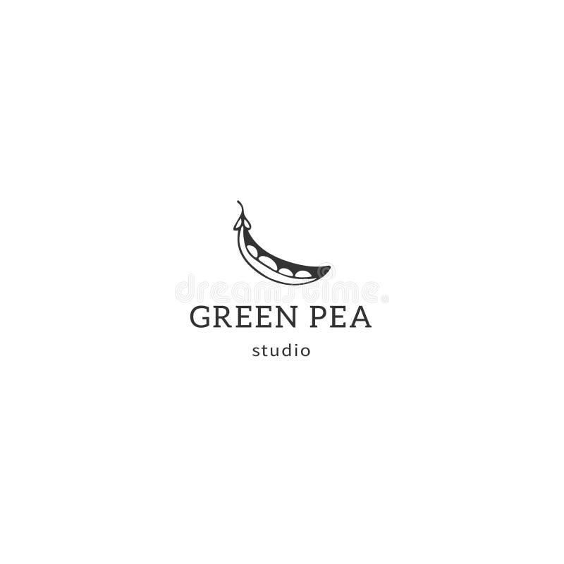Объект вектора нарисованный рукой Шаблон логотипа кухни, зеленый горох иллюстрация вектора