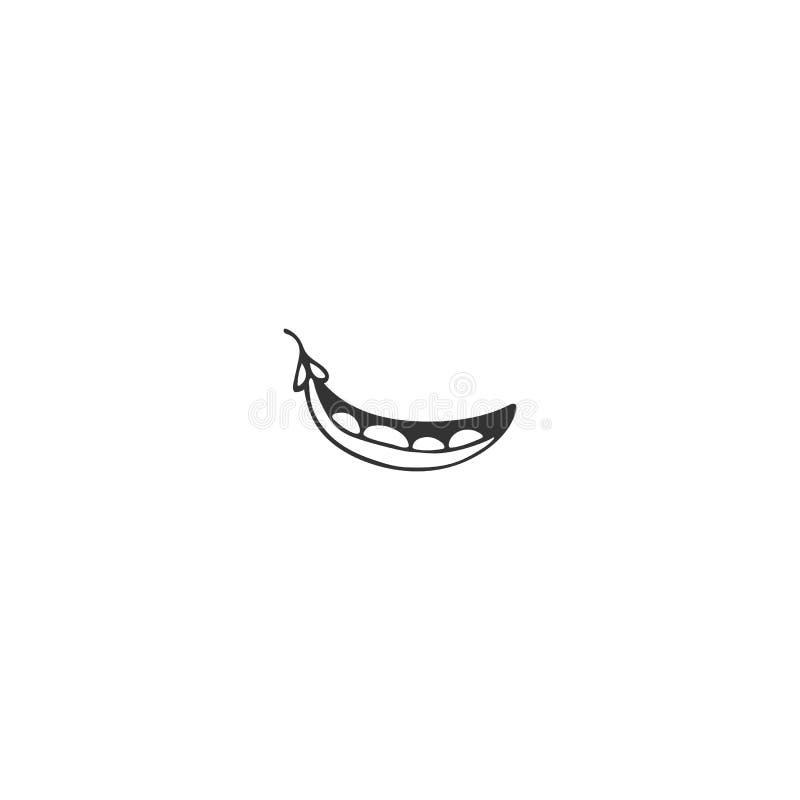 Объект вектора нарисованный рукой Элемент логотипа еды, зеленый горох бесплатная иллюстрация