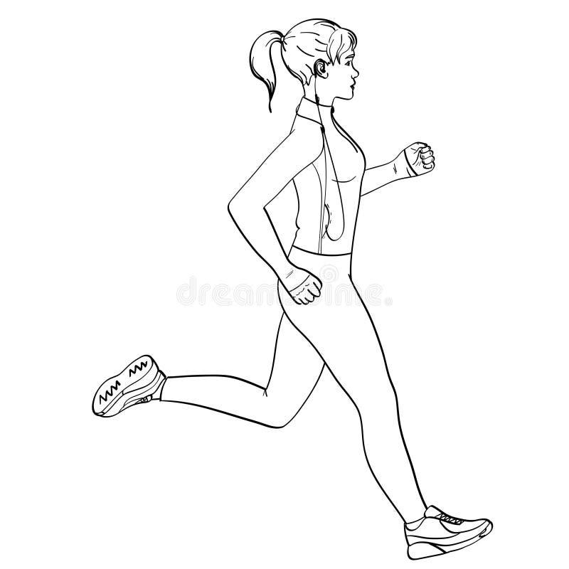 Объект девушки спорта jogging на белой предпосылке ретро красить детей В одеждах спорт с наушниками и a иллюстрация вектора