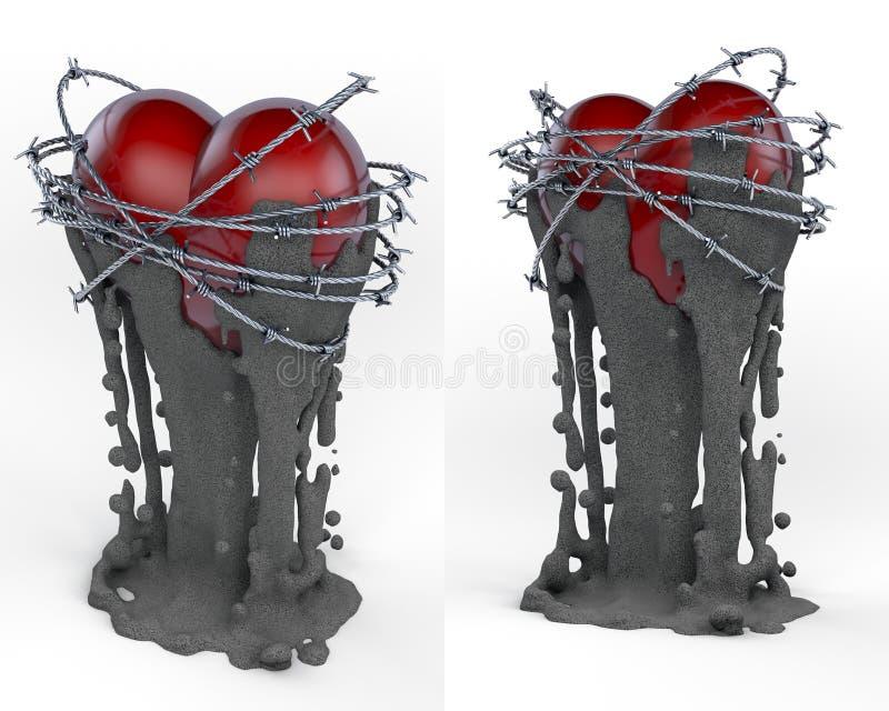 Объект искусства, тотем, сердце трофея красное окруженное проводом колючки иллюстрация штока