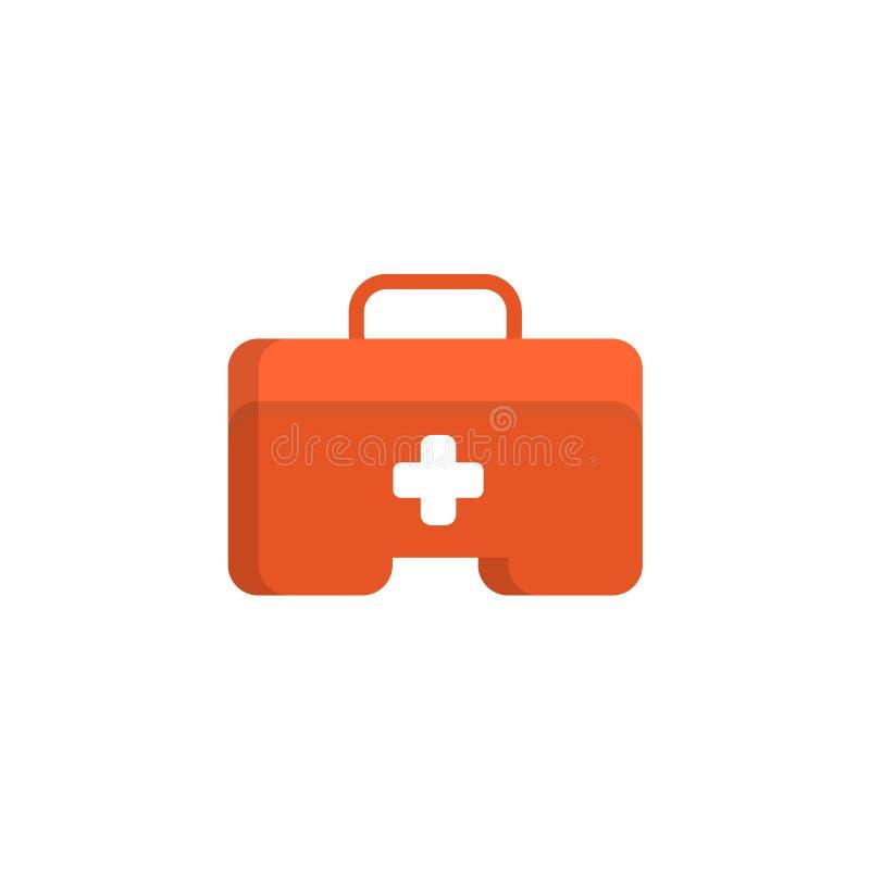 Объект коробки бортовой аптечки плоский Комод медицины с белым крестом Иллюстрация вектора здравоохранения плоская иллюстрация вектора