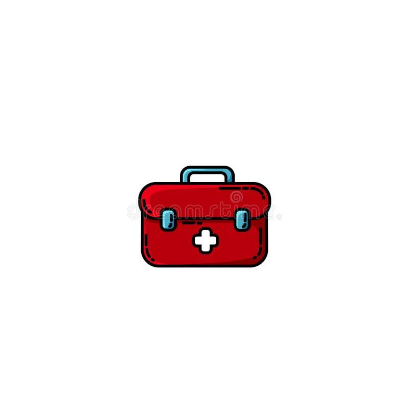 Объект коробки бортовой аптечки плоский Комод медицины с белым крестом Иллюстрация вектора здравоохранения плоская бесплатная иллюстрация