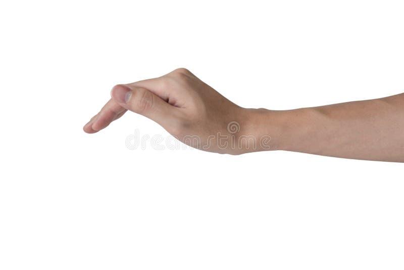 Объект крышки руки человека на верхней части как защищать или страхование изолированной с белой предпосылкой стоковые фото