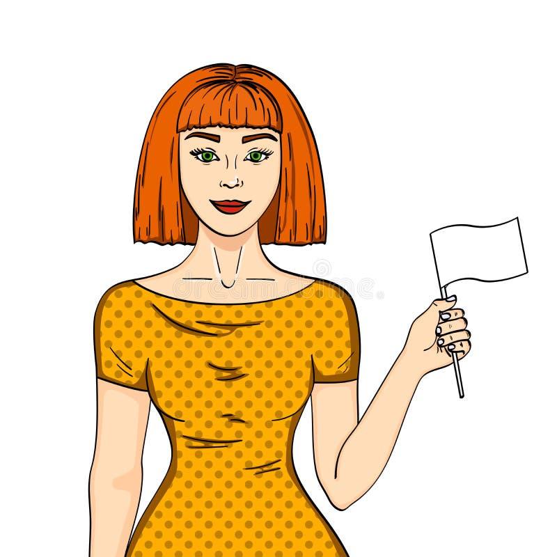 Объект на девушке белой предпосылки красной с волосами держа флаг парламентера Женщина дала вверх ее положению шуточную имитацию  иллюстрация вектора