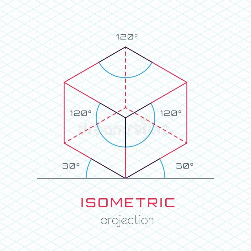 Объект рамки в аксонометрической перспективе - равновеликой решетке Templat иллюстрация вектора