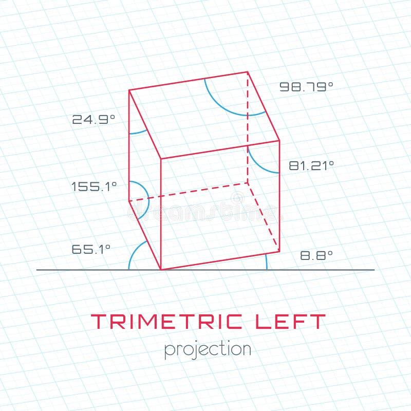 Объект рамки в аксонометрической перспективе - Trimetric левой решетке Te иллюстрация вектора