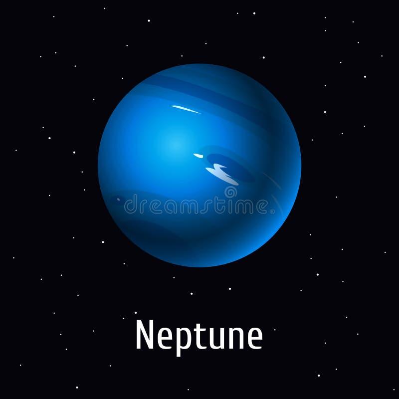 Объект солнечной системы иллюстрации вектора Нептун на предпосылке космоса бесплатная иллюстрация