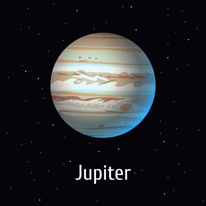 Объект солнечной системы иллюстрации вектора Юпитер на предпосылке космоса иллюстрация штока