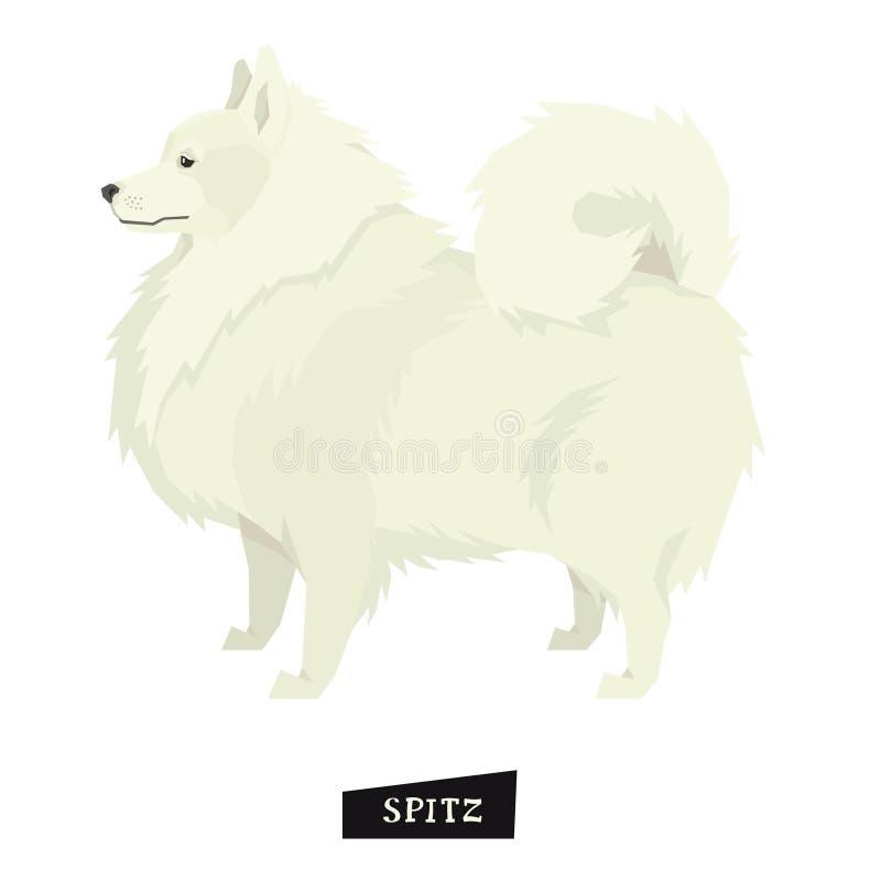 Объект шпица собрания собаки геометрическим изолированный стилем иллюстрация штока