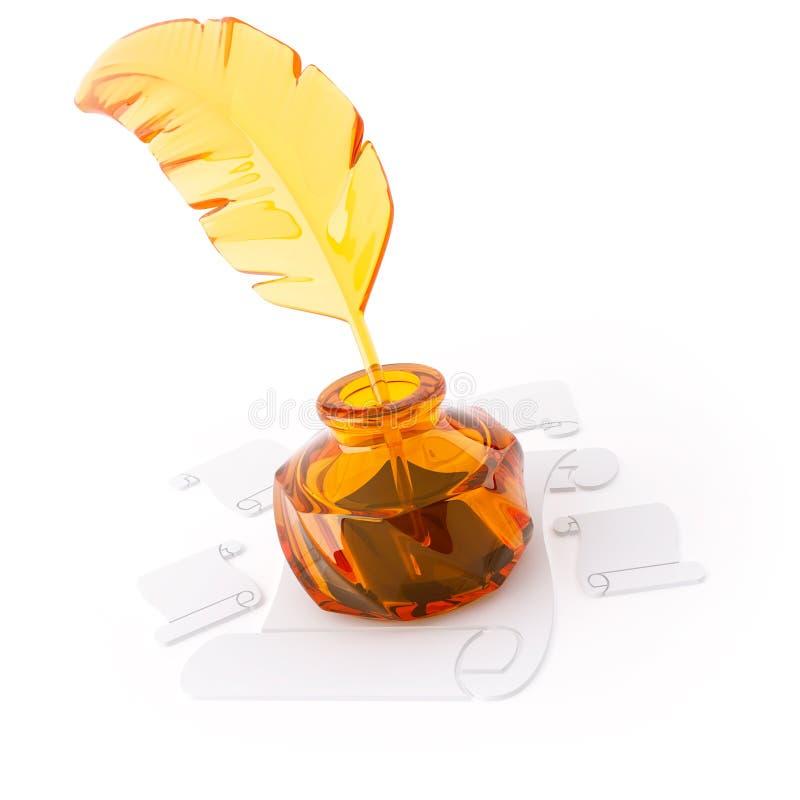 объект 3D от стекла на белизне стоковая фотография rf