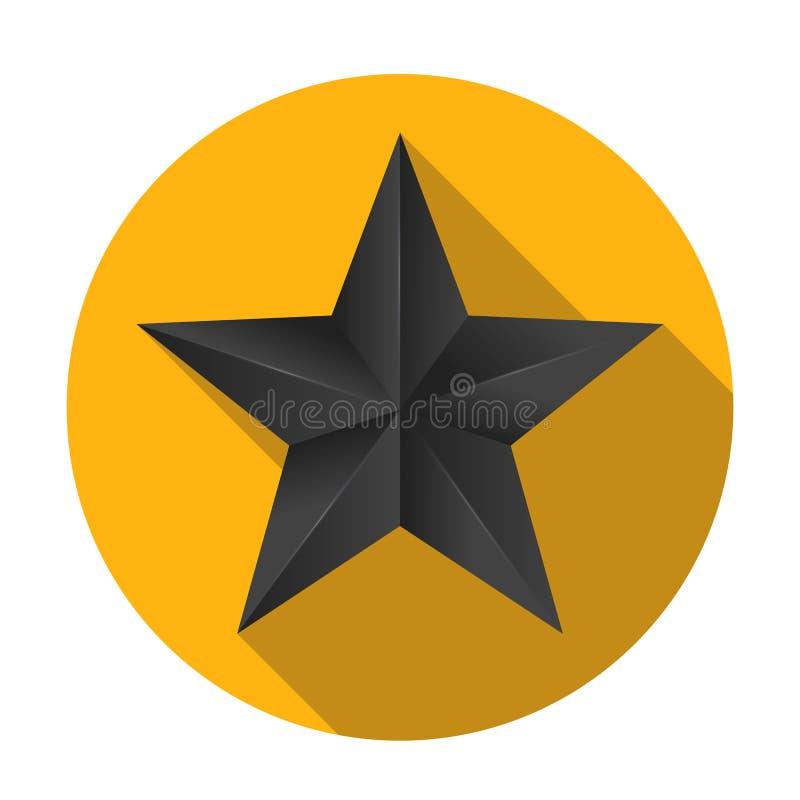 Объемная пятиконечная звезда с плоской тенью Значок классической черной звезды на желтой круглой предпосылке, иллюстрации 3D иллюстрация штока