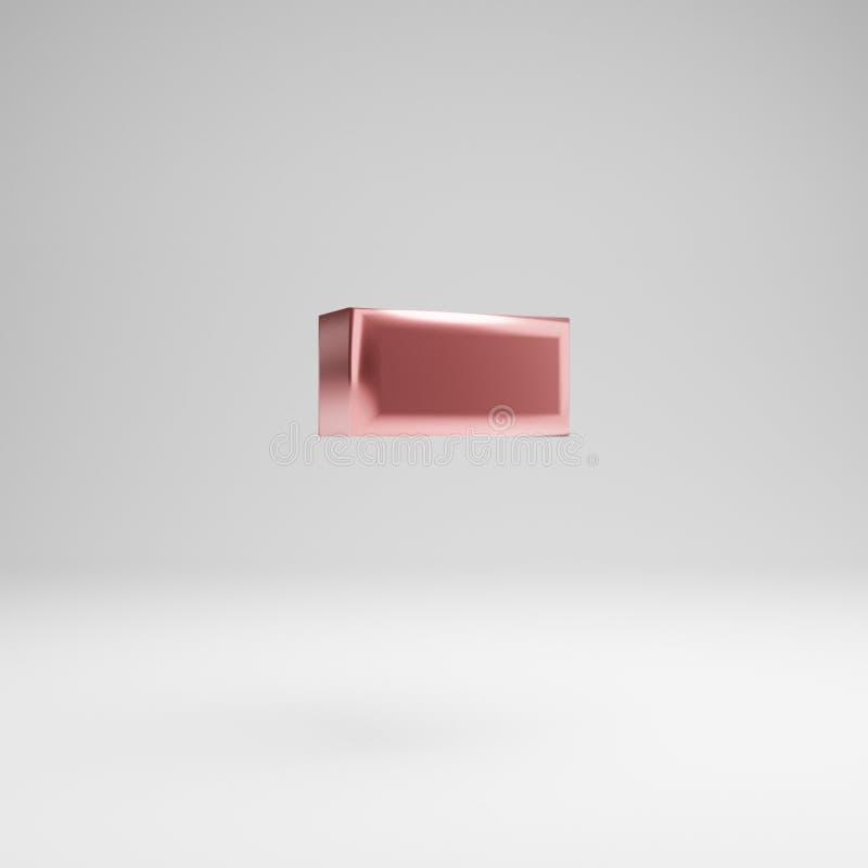Объемное лоснистое розовое золото минус символ изолированное на белой предпосылке иллюстрация вектора