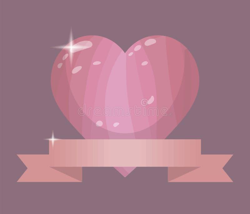 Объемное сердце пинка вектора с слепимостью и лоск с лентой персика на сером чертеже значка предпосылки бесплатная иллюстрация