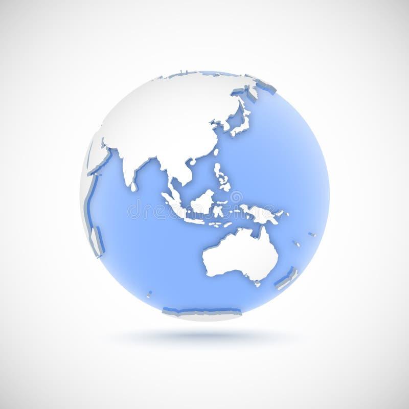 Объемный глобус в белых и голубых цветах иллюстрация вектора 3d с континентами Евразией, Европой, Азией, Австралией, Океанией иллюстрация штока