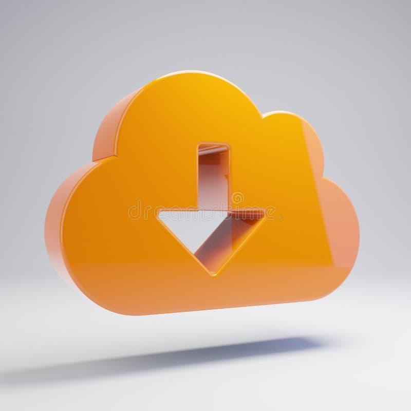 Объемный лоснистый горячий оранжевый значок загрузки облака изолированный на белой предпосылке иллюстрация штока