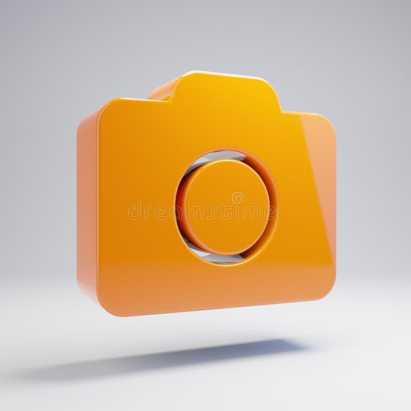 Объемный лоснистый горячий оранжевый значок камеры фото изолированный на белой предпосылке иллюстрация штока