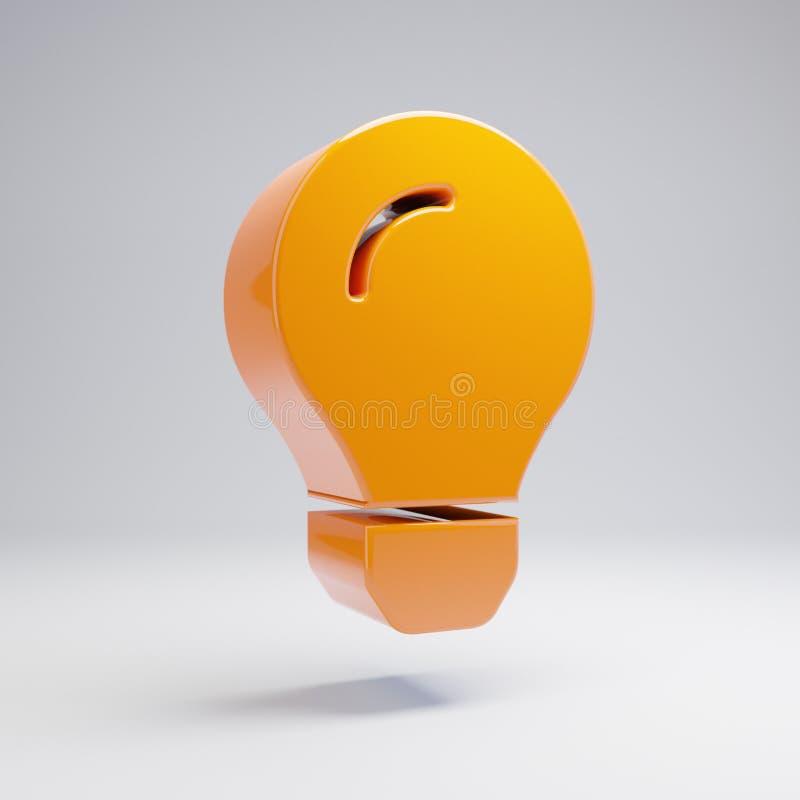 Объемный лоснистый горячий оранжевый значок лампочки изолированный на белой предпосылке бесплатная иллюстрация