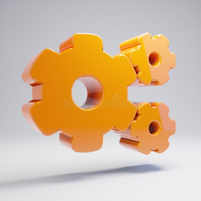 Объемный лоснистый горячий оранжевый значок Cogs изолированный на белой предпосылке бесплатная иллюстрация