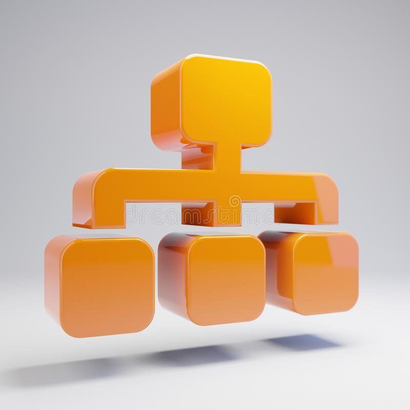 Объемный лоснистый горячий оранжевый значок Sitemap изолированный на белой предпосылке иллюстрация вектора